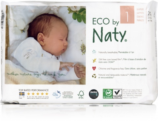 Naty Nature Babycare Newborn, Vel. 1, 5 ks