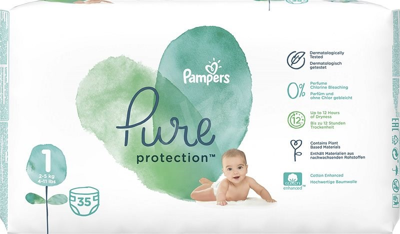 Pampers Pure, Velikost 1, 5 ks